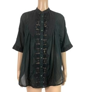 Free People Button Down Top Boxy Oversized Blouse